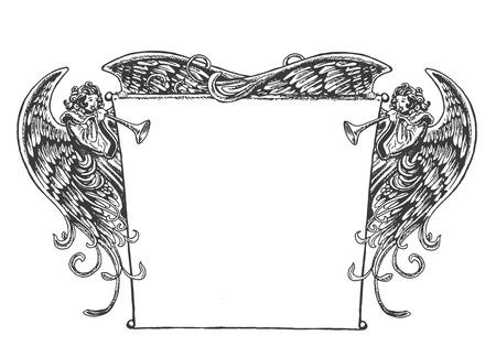 Ange Bannière, de style vintage. Old fashioned dessin des anges tenant une bannière tout en soufflant sur les trompettes. Style rappelle gravure sur bois ou gravé période art. Banque d'images - 45649161