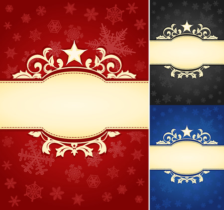 royal background: Set of Ornate Christmas Banner Background  A set of elegant Christmas-themed backgrounds. Star and floral frame gives a touch of luxury.