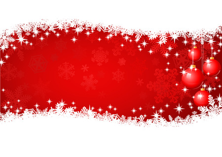Red Christmas Background  With snowflakes, baubles, glitters, and Christmas lights.