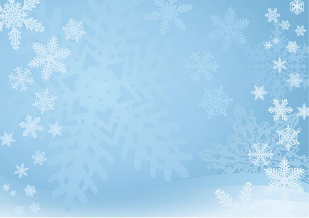 snow falling: Blue Snowflake Background  A blue snowflake background with many different snowflakes. Soft and light.