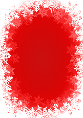 Snowflake Framed Red Christmas Background  Red winter holiday background with snowflakes as borders. Works as well in horizontal.