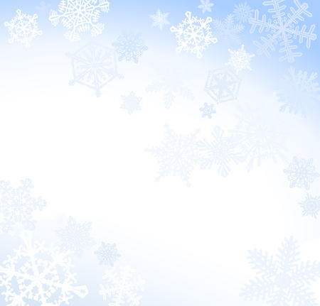 Soft Blue Snowflake Background  Light winter background with many intricate snowflakes. Illustration