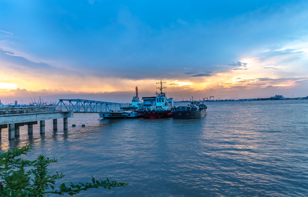 China's Yangtze River port docking sunset scenery