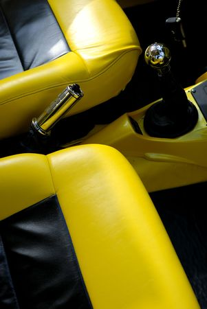 Black and yellow car interior