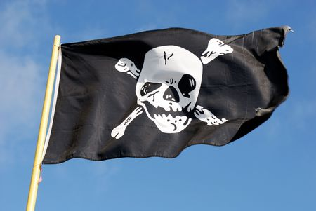 warez: Jolly Roger - Flag of a Pirate skull and crossbones Stock Photo