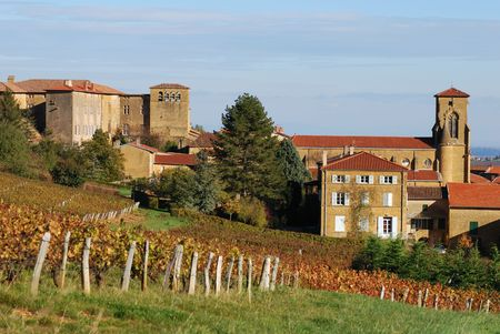 Vinyard around a medieval golden village called Theizé (Beaujolais  France) Stock Photo