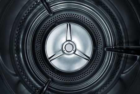 Interior view of a Washing machine / dryer with a smooth blue toning. Stock Photo - 2139387