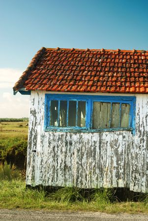 Front view of an old fisherman shack under blue sky. Stock Photo - 2139401
