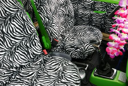 Seats inside a funky car ready for a safari trip. photo