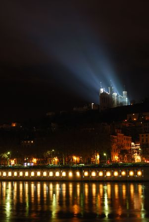 basillica: Illuminated riverside with basillica of Fourviere (LyonFrance)