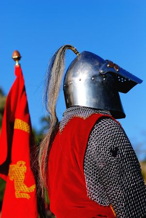 squire: Knight in armor with its coat of arms during an historic event in Cremieu (Isere  France)