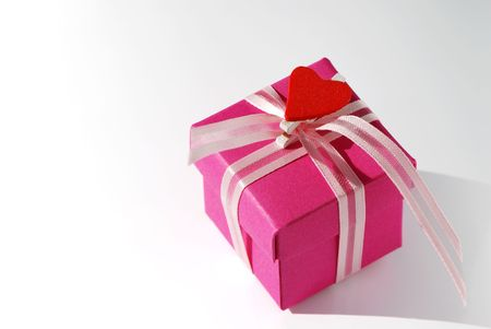 Pink box with lace and heart shape. photo