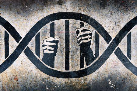 prision: Dibujo de manos humanas el acaparamiento de barras de ADN jaula  Foto de archivo