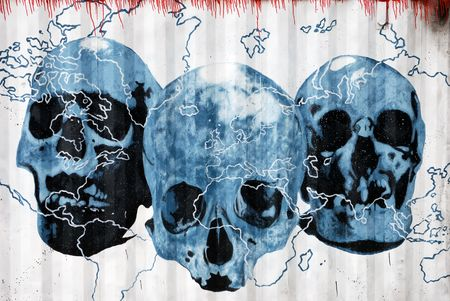 Drawing of three blue skulls and world cartography on corrugated iron photo