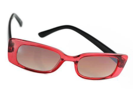 tinted glasses: Retro sunglasses, black and red color isolated on white