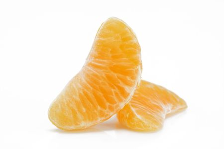 Tangerine slices isolated on white background