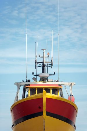 View of the bow of a trawler from below