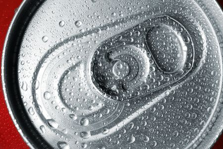 Close-up view of the top of a canned drink with condensation. Stock Photo - 4342383