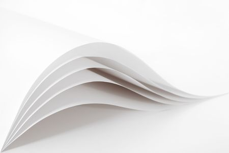 Blank and empty white paper sheet like waves isolated on a white background Stock Photo