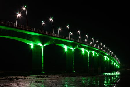 Brightly Illuminated Viaduct at night (Seudre  France) photo