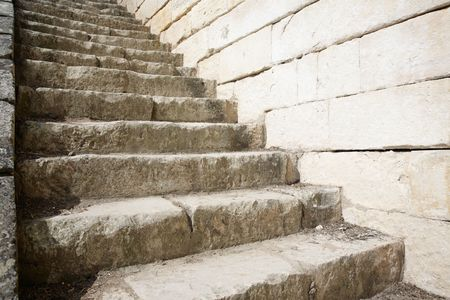 Stone steps leading up in a medieval place (Brouage / Charente Maritime) Stock Photo - 5922623