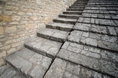 Stone stairway leading up in a medieval place (Brouage  Charente Maritime) photo