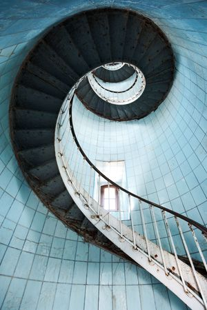 View from beneath of a spiral staircase (Charente Maritime  France)