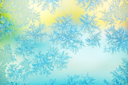 deep freeze: La escarcha en cristal de la ventana - cristal azul amarillo y verde congelada ventana