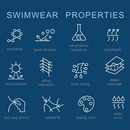 Woman swimwear and swim suits properties vector icon set.