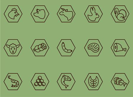 Restaurant, bold line icons. Meat and fish icon set for restaurants and food labels.