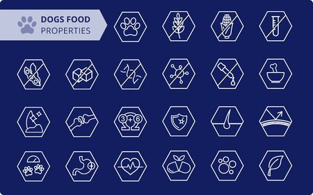 Dog's food properties icon set. Veterinarian properties.