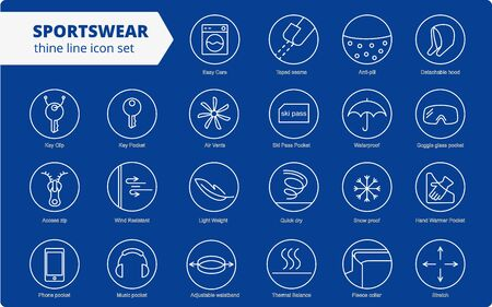 Fabric and clothes feature line icons. Linear wear labels. Elements - waterproof, uv protection, breathable fiber and more. Textile industry pictograms for garments. Ski garments, sportswear Ilustração