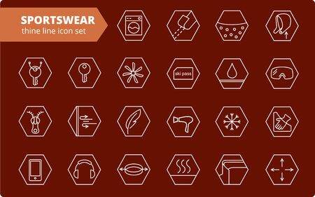 Fabric and clothes feature line icons. Linear wear labels. Elements - waterproof, uv protection, breathable fiber and more. Textile industry pictograms for garments. Ski garments, sportswear Ilustrace