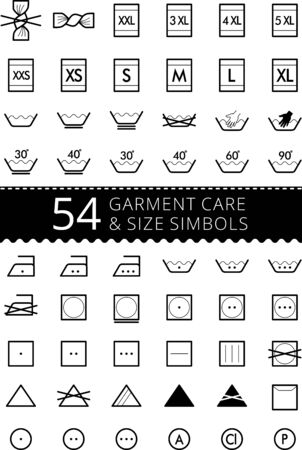 Laundry care symbols. Set of textile care icons. Wash and care signs of textile garment. ?lothes sizes - size L, size M, size S, size XS, size XL Stock Illustratie