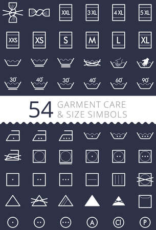 Laundry care symbols. Set of textile care icons. Wash and care signs of textile garment. ?lothes sizes - size L, size M, size S, size XS, size XL Çizim