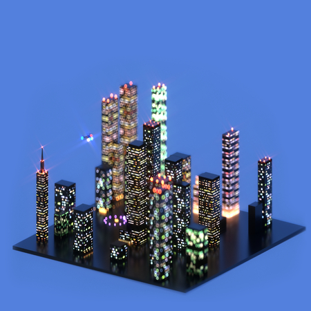 3d illustration of night cityscape island with the skyscrapers