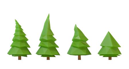 白い背景に対してローポリゴン木の 3 d イラストレーション 写真素材