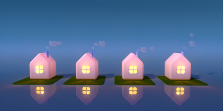 gloaming: Four little houses at night against blue background. Light in the windows. 3d rendering illustration