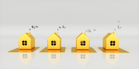 Four little golden houses against light background. 3d rendering illustration