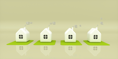 cloudy day: Four little houses on a cloudy day against light background. 3d rendering illustration Stock Photo