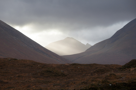 highlands region: Mountains in the clouds on Isle of Skye, Scotland