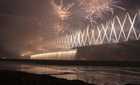 lothian: Fireworks on Forth Road Bridge for 50th Celebration, Scotland