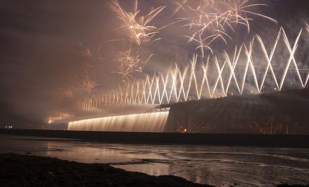 forth: Fireworks on Forth Road Bridge for 50th Celebration, Scotland