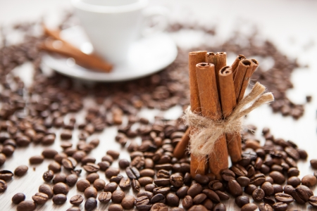 Cinnamon sticks with scattered coffee beans photo