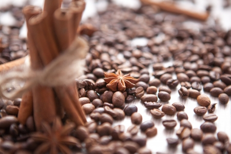 star anise and  scattered coffee beans photo