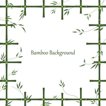 Bamboo background in the form of a window made of bamboo sticks. Green pattern of trellis and bamboo branches with leaves. Frame made of bamboo lattice with an empty place for an inscription.