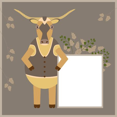 Cartoon bull with long horns holds a white sheet for advertising. Simple vector flat illustration. White blank, board with empty place for your text. Cute animal cow character. Stock Illustratie