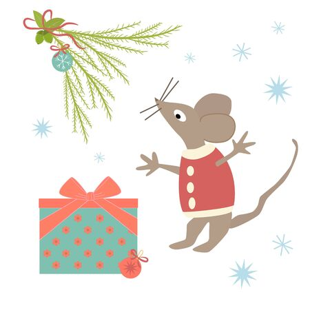 Funny mouse in a red sweater near a gift box with a bow and Christmas ball. Set of holiday elements: Christmas tree branch, mouse, Christmas toys. Beautiful illustration in a flat style for children. Ilustrace
