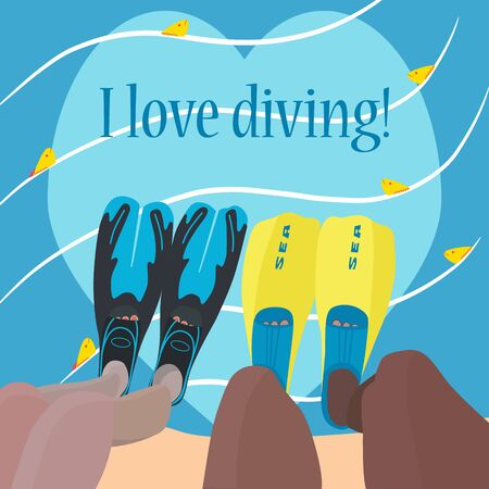 Bright colorful poster with the inscription: I love diving. Male and female legs in flippers are immersed in water, where fish swim. Advertising concept scuba diving. International divers day. Vector Illustration