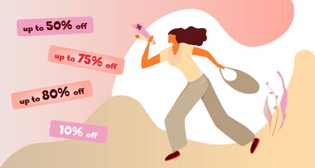 Woman with discount flyers in a hurry to shop. Vector flat illustration of female shopaholic character. Sale banner template design. Poster for big sale, special offer. Silhouette of a shopping girl.